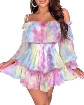 Off the Shoulder Tie Dye Strap Skater Dress