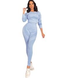 Herfst 2-delige sportfitness yoga crop top en leggingset