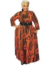 Plus Size Autumn Striped Floral Long Maxi Dress