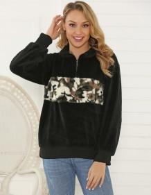 Camou Print Schwarzes Polar Fleece Pullover Top