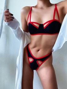 2PC Badebekleidung mit rotem und schwarzem Ausschnitt