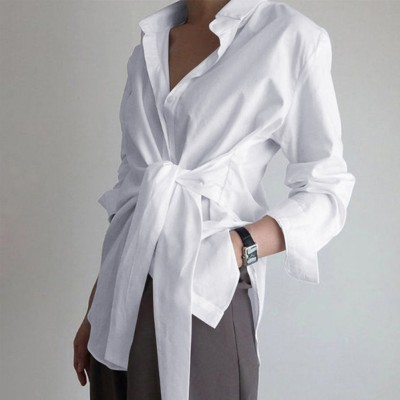 Autumn White Long Sleeve Blouse with Belt