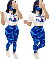 Summer Matching 3PC Print Shirt and Legging Set with Face Cover