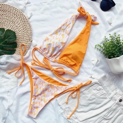 2PC Contrast Print Strings Halter Swimwear