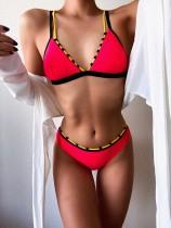 Costume da bagno con cinturino rosso 2PC con finiture a contrasto