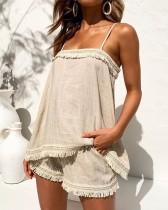 Conjunto de pantalones cortos con borlas de dos piezas de verano