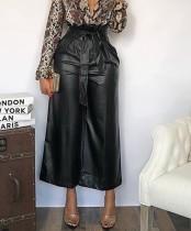 Черные кожаные широкие брюки с высокой талией без ремня