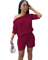 Herbst passendes 2PC Shorts Lounge Set