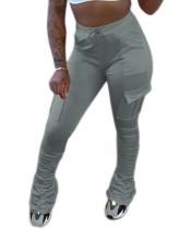 Наборные брюки с однотонными простыми карманами с высокой талией