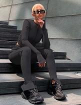 Conjunto de legging y top corto con cremallera a juego en negro de 2 piezas Autumn
