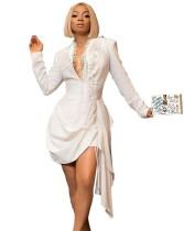 Vestido de club irregular de manga larga con escote en V profundo blanco sexy