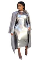 Silver Metallic Long Sleeve Midi Dress