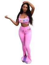 Sport Pink Print BH und Stacked Slit Legging Set