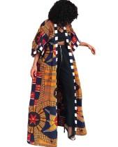 Cappotto lungo autunnale con stampa africana