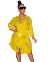 Vestido de blusa larga africana con estampado de polka