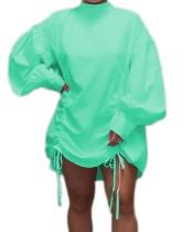Vestido de camisa suelta con cordones de color sólido de otoño con mangas pop