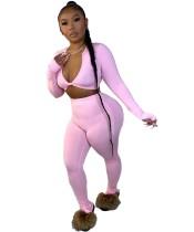 Conjunto de legging de cintura alta y top corto sexy a juego de color sólido
