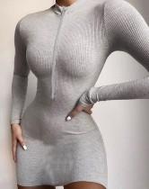 Herbst Strick Reißverschluss Mini Club Kleid