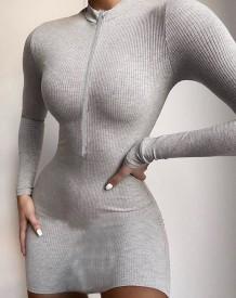 Autumn Knitted Zipper Mini Club Dress