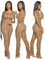 Herbst 2PC Matching Plaid Crop Top und Stacked Pants Set