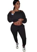 Conjunto de pantalón y top corto con cuentas de otoño de 2 piezas