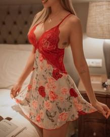 Abito da camera da letto con cinturino con stampa floreale sexy