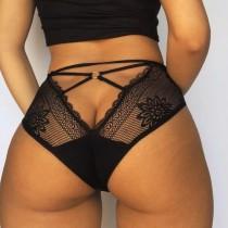 Sexy schwarze High Waist Fishnet Panty Dessous