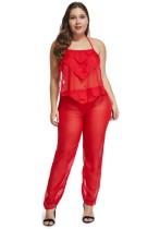 Plus size 2pc doorzien lingerie broek set