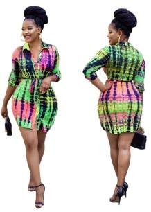 Vestido blusa africana de manga comprida tie dye com cinto