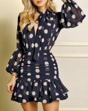 Autumn Polka Blue Deep-V Mermaid Dress