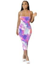 Seksi Batik Boyası Halter Midi Elbise