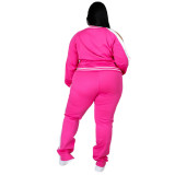 Plus Size Autumn Long Sleeve Zipper Tracksuit