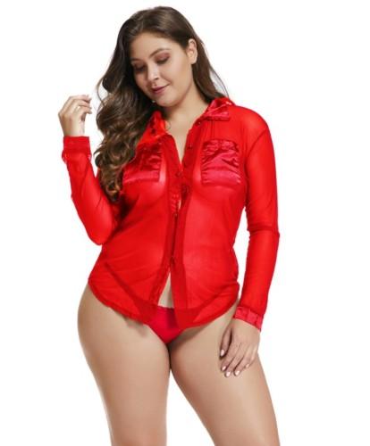 Plus Size 2pc Shirt and Panty Lingerie Set