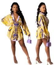 African Print Retro Langarm Bluse Kleid