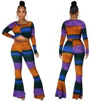 Conjunto de pantalones acampanados y top corto de colores a juego de 2 piezas de otoño