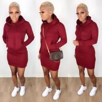 Herbst Langarm Tasche Tight Blank Hoody Kleid