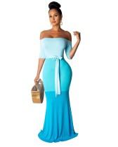 Off the Shoulder Contrast Meerjungfrau Abendkleid mit Gürtel