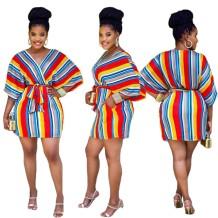 Vestido listrado colorido africano com decote em V com cinto