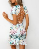 Lace Up Back Sexy Plunging Floral Mermaid Party Dress