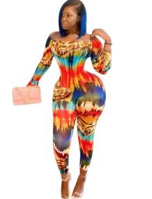 Цветной облегающий комбинезон с длинными рукавами в африканском стиле с открытыми плечами
