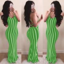 Open Back Sexy gestreiftes Halfter Langes Kleid