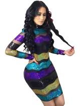Payetler Renkli Uzun Kollu Mini Club Elbise