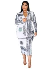 Vestido médio plus size com estampa de dólar e manga comprida