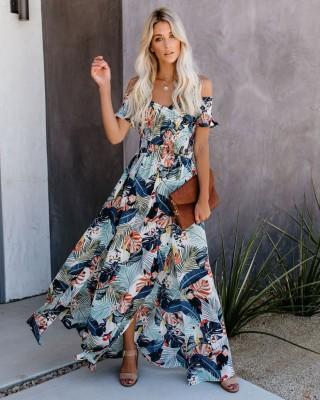 Vestido largo floral de novia de verano