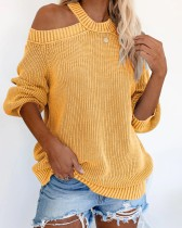Autumn Solid Plain Halfter Loose Sweater
