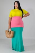Kısa Kollu Büyük Beden Kontrast O Yaka Uzun Elbise