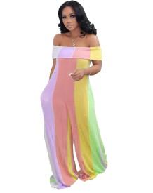 Brede gestreepte kleurrijke off-shoulder losse jumpsuit