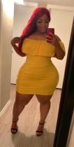 Plus Size Off Shoulder Gelb Bodycon Kleid