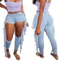 Sexy hellblaue ausgeschnittene Quasten Jeans mit hoher Taille