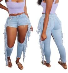Сексуальные голубые джинсы с высокой талией и кисточками с вырезом